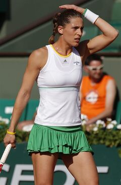Germany's Andrea Petkovic reacts as she plays Romania's Simona Halep during their semifinal match of the French Open tennis tournament at the Roland Garros stadium, in Paris, France, Thursday, June 5, 2014. (AP Photo/Michel Euler)