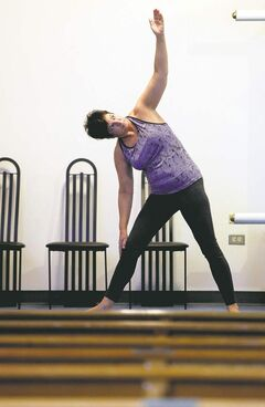 Miral Gabor practises Yoga Shalom at Temple Shalom. The appeal of Yoga Shalom, as opposed to standard yoga, is that it provides an extra layer of spirituality to what is already a mystical and transcendent experience.