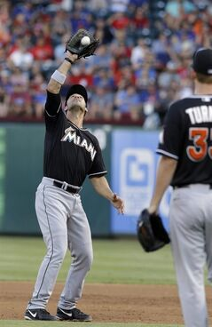 Miami Marlins first baseman Garrett Jones, left, catches a fly out by Texas Rangers batter Michael Choice as Marlins starting pitcher Jacob Turner stands near during the third inning of a baseball game in Arlington, Texas, Wednesday, June 11, 2014. (AP Photo/LM Otero)