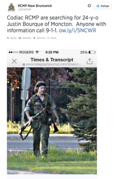 RCMP posted this photo to their Twitter feed, asking anyone for information on the suspected shooter, 24-year-old Justin Bourque.