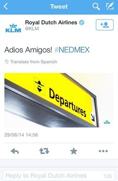 A screenshot of the KLM twitter account shows a tweet that appeared shortly after the Netherlands defeated Mexico in the World Cup in Brazil on June 29, 2014. What was meant to be a harmless joke has turned into a PR blunder for Dutch airline KLM after it angered Mexican soccer fans by taking to Twitter to celebrate the Netherlands' dramatic comeback victory in the World Cup. Amid the widespread protest online, the post was pulled a half-hour later without an explanation. (AP Photo/KLM twitter account)