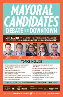 Poster for the Downtown BIZ's mayoral debate featuring only five of the eight candidates.