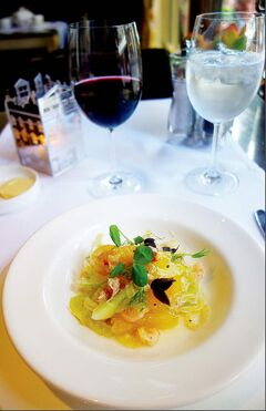 Gourmet meal with wine offered as part of the Covent Garden Hotel film club package.