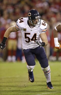 In this Monday, Nov. 19, 2012 photo, Chicago Bears middle linebacker Brian Urlacher (54) runs the field against the San Francisco 49ers during the second half of an NFL football game in San Francisco. Most of the big names hitting NFL free agency in 2013 aren't big stars anymore. While Ed Reed is coming off a Super Bowl season in Baltimore and Wes Welker catches 100 passes every year, this crop is more about aging defensive players such as Charles Woodson, Urlacher and Ronde Barber. (AP Photo/Marcio Jose Sanchez)