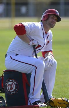 Washington Nationals outfielder Bryce Harper waits to take batting practice during a spring training baseball workout in Viera, Fla., Wednesday, Feb. 20, 2013.(AP Photo/Phelan M. Ebenhack)