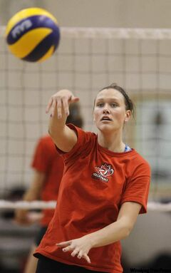 Team Canada's Tiffany Dodds practises Monday at Investors Group Athletic Centre.