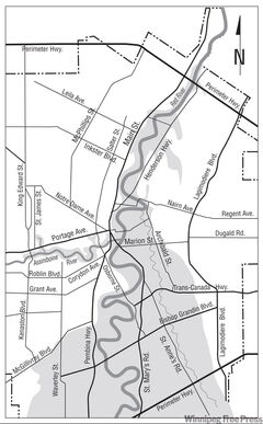 Grey areas on the map show parts of the city that were underwater in the disastrous 1950 flood, pictured at left.