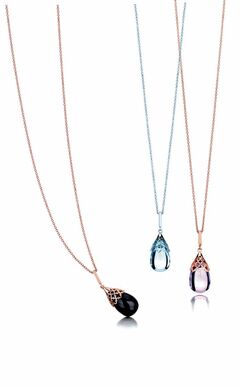 Onyx (left), topaz (above) and amethyst (right) pendants are part of Birks� Muse  collection.