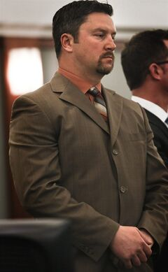 Michael McBain stands during his sentencing Wednesday, Jan. 30, 2013 in Regional Justice Center in Las Vegas. McBain, a former NHL player was sentenced to four to 15 years in prison for sexually assaulting a girl over a four-year period. The 36-year-old McBain was drafted by the NHL's Tampa Bay Lightning in 1995, and played for the team from 1997 to 1999. He played two seasons in the United Kingdom before signing with the minor league Las Vegas Wranglers. McBain, from British Columbia, pleaded guilty in September to reduced charges of felony attempted sexual assault and attempted lewdness with a minor under 14. (AP Photo/Las Vegas Review-Journal, Jeff Scheid) LOCAL TV OUT; LOCAL INTERNET OUT; LAS VEGAS SUN OUT