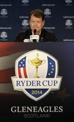 United States Ryder Cup captain Tom Watson speaks at a news conference at Valhalla Golf Club Monday, Aug. 11, 2014, in Louisville, Ky. (AP Photo/John Locher)