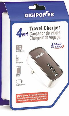 DigiPower's Travel AC power adaptor has a built-in USB charger.