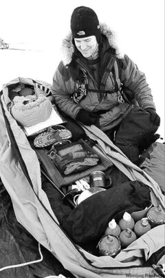 Ernie Whelan, a former search and rescue technician with the Armed Forces, checks his gear for a 100-kilometre skiing trek across Lake Winnipeg to raise awareness of what Type 2 diabetics can achieve. His five-day trek across the lake raised $6,000 for diabetes research.