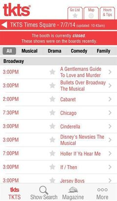 This image released by TKTS shows a screenshot from the TKTS app, which provides a list of which New York City live theater shows are offering discounted tickets for that night's performance. The app also lists other information including the show's description and monthly schedule, theater location, directions, closest subway stops and a link to purchase full-price tickets. (AP Photo/TKTS)