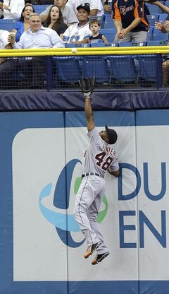 Detroit Tigers right fielder Torii Hunter makes a leaping catch on a fly ball by Tampa Bay Rays' Sean Rodriguez during the fifth inning of a baseball game Thursday, Aug. 21, 2014, in St. Petersburg, Fla. (AP Photo/Chris O'Meara)