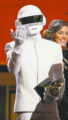 Thomas Bangalter of Daft Punk accepts the award for record of the year.
