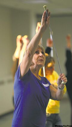 Barb Sloggett shows she hasn't lost her touch when it comes to baton-twirling.