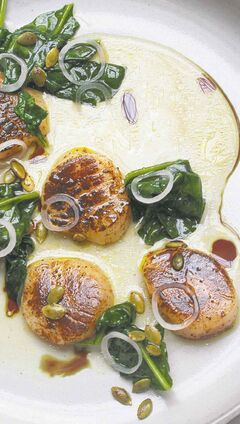 Blowtorch Scallops With Spinach and Heirloom Tomato Water