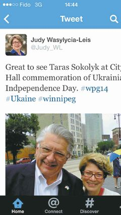 Judy Wasylycia-Leis promised to restore ethics and integrity to city hall, but Sunday afternoon she wrapped her arms around the man who financed a scheme to steal a provincial election.  Wasylycia-Leis had posted a picture on her Twitter account with Taras Sokolyk, who 20 years ago, as chief of staff to Tory premier Gary Filmon, directed funding for a vote-rigging scheme in the 1995 provincial election.  TWITTER photo August 24, 2014