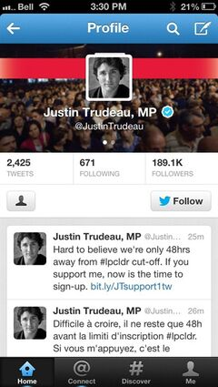 The deadline for Liberal leadership hopefuls to sign up new supporters for the party and their candidacies is Sunday. Over the last six months, Justin Trudeau has signed up new Twitter followers at a rate far outpacing his rivals, gaining an average of 6,743 a month, with Marc Garneau trailing with an average of 886 followers a month. As of late last week, Trudeau had 188,861 followers, Garneau had 11,840 and Hall Findlay had 7,511. THE CANADIAN PRESS/Graeme Roy