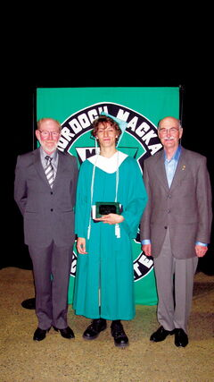 Taylor Daigneault of Murdoch MacKay Collegiate is shown accepting his $500 Jean Delorme Memorial Bursary from Transcona Hi Neighbour Festival board members Stan and Vince Lopata. Other winners were Dominic Omega of Transcona Collegiate Institute, Mikayla Teitsma of Immanuel Christian School, Elizabeth Truijen of Calvin Christian School, and Callie Chalmers of College Pierre-Elliot-Trudeau.
