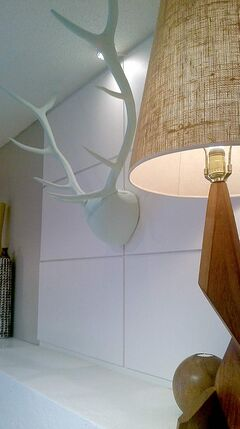 Antlers painted in mint green create a stunning display.