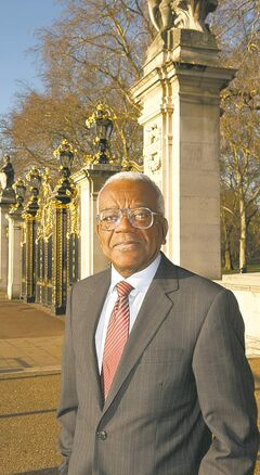 Trevor McDonald outside Buckingham Palace.
