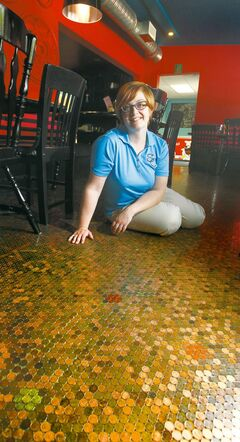 The Summit Café in Stony Mountain, owned by Nadine Dannenberg, has a floor made up entirely of pennies