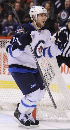 Kyle Wellwood celebrates his tying goal against  the Vancouver Canucks at Rogers arena in Vancouver on  March 8.