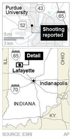 Map locates campus building at Purdue University where a shooting was reported.; 1c x 3 inches; 46.5 mm x 76 mm;