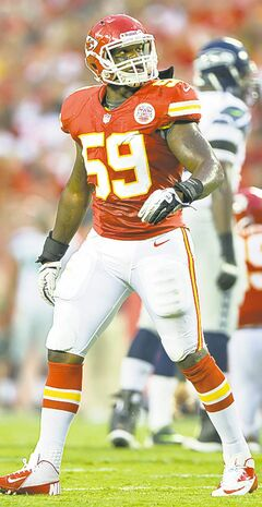 Kansas City Chiefs linebacker Jovan Belcher this morning on December 1, 2012, shot and killed his girlfriend before going to Arrowhead Stadium and fatally shooting himself as team personnel tried to stop him, police said. In this August 24, 2012, file photo, Belcher is shown during an NFL game against the Seattle Seahawks.
