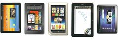 A selection of Android tablets at different sizes, specialties and price points. From left, Samsung Galaxy Tab 10.1, Amazon Kindle Fire, Nook Tablet, HTC Flyer, HTC Jetstream, Toshiba Thrive and T-Mobile SpringBoard. Illustrates TECHGIFTS (category l), by Hayley Tsukayama (c) 2011, The Washington Post. Moved Thursday, Dec. 1, 2011. (handouts)