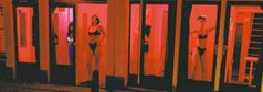 Prostitutes stand behind red-lit windows, waiting for customers in Amsterdam's Red Light district.