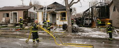 Four houses on Jefferson Avenue near Scotia Street were damaged in a fire Monday. The fire is still under investigation.