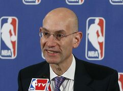 FILE - In this May 21, 2013, file photo, Adam Silver speaks during a news conference before the NBA basketball draft lottery in New York. The NBA has suspended Charlotte Hornets forward Jeffery Taylor for 24 games without pay after he pleaded guilty last month to misdemeanor domestic violence assault and malicious destruction of hotel property.