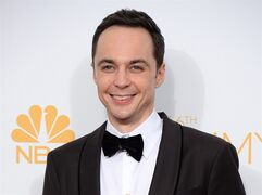 """FILE - In this Aug. 25, 2014 file photo, Jim Parsons poses in the press room after winning the award for outstanding lead actor in a comedy series for his work on """"The Big Bang Theory"""" at the 66th Annual Primetime Emmy Awards in Los Angeles. Producers on Thursday said Parsons will star in a stage adaptation of the humor book"""
