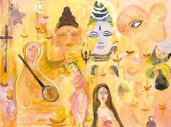 Painting entitled Spiritual India by Winnipeg artist Manju Lodha.