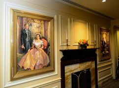 An undated photo provided by the Newseum shows a new portrait of Maray Lincoln and her son Robert Lincoln that is on display at the Willard Intercontinental Hotel in Washington. It is one of two new portraits by John Gable that have gone on display in advance of the 150th anniversary next year of Abraham Lincoln's assassination. (AP Photo/Newseum)
