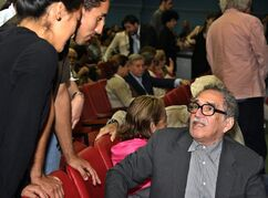 FILE - In this Dec. 7, 2004 file photo, Colombia's writer Gabriel Garcia Marquez, right, speaks with fans at the inauguration of the 26th Havana Film Festival in Havana, Cuba. Cuba is dedicating the 2014 Havana Film Festival to the late Nobel Prize-winning novelist Gabriel Garcia Marquez who was a longtime friend of former leader Fidel Castro and also a major backer of Cuba's marquee international cinema bash. Havana's film festival takes place each December. Garcia Marquez died on April 17, 2014 in Mexico City. (AP Photo/Jose Goitia, File)