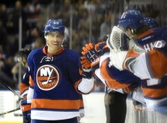 New York Islanders center Anders Lee (27) celebrates his goal against the Pittsburgh Penguins with teammates in the third period of an NHL hockey game at Nassau Coliseum on Saturday, Nov. 22, 2014, in Uniondale, N.Y. The Islanders won 4-1. (AP Photo/Kathy Kmonicek)