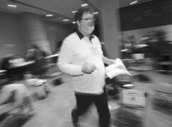 Doug 'Doris' Speirs rushes from one thankless task to another during the poverty simulation.