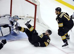 Boston Bruins center Gregory Campbell (11) starts to celebrate his goal with left wing Simon Gagne (12) as San Jose Sharks goalie Antti Niemi (31) looks back at the puck during the third period of an NHL hockey game in Boston, Tuesday, Oct. 21, 2014. (AP Photo/Elise Amendola)