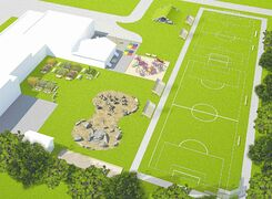 Envision Conceptual Design's drawing shows the proposed features of the new Sanford green space.