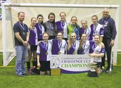 Morse Place Eagles U17 girls indoor soccer team won the Cambrian Credit Union 2014/15 Indoor Season Challenge Cup. Back row, left to right: Coach Pete Borys, Carly, Lauryn, Brita, Ariel, Jenna, Kristen, Serena, coach Rob Kiliwnik. Front row, left to right: Caitlyn, Janine, Quinn, Laryssa, Madeline.