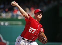 Washington Nationals starting pitcher Jordan Zimmermann throws during the fifth inning of a baseball game against the Philadelphia Phillies at Nationals Park, Saturday, April 18, 2015, in Washington. (AP Photo/Alex Brandon)