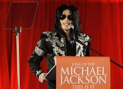 FILE - In this March 5, 2009 file photo, US singer Michael Jackson announces that he is set to play a series of comeback concerts at the London O2 Arena in July, which he announced at a press conference at the London O2 Arena. Attorneys for Katherine Jackson argued for a new trial before a California appeals court on Thursday Jan. 22, 2015, in her case against concert promoter AEG Live LLC, who she claims should be held liable for her son's death in 2009. (AP Photo/Joel Ryan, File)