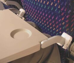 The Knee Defender attaches to your tray.