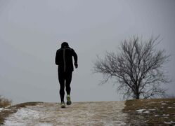 A runner takes advantage of this morning's balmy temperatures to train at Westview Park.