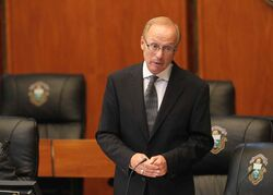 Mayor Sam Katz at his last council meeting at City Hall.