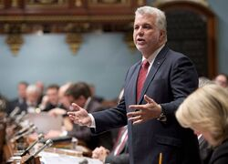 Quebec Premier Philippe Couillard speaks on November 19, 2014 at the legislature in Quebec City. THE CANADIAN PRESS/Jacques Boissinot