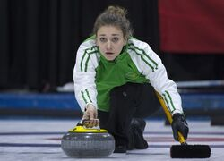 Saskatchewan third Sara England makes a shot during a draw against British Columbia at the Canada Winter Games in Prince George, B.C. Thursday, Feb. 26, 2015. THE CANADIAN PRESS/Jonathan Hayward